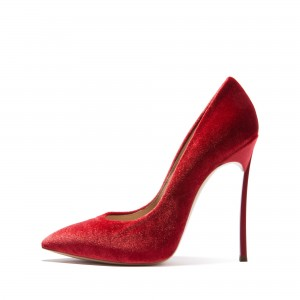 Burgundy Velvet Heels Pointy Toe Stiletto Heels Pumps for Women