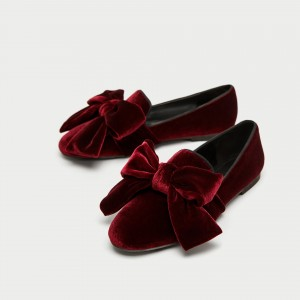 Burgundy Velvet Loafers for Women Cute Round Toe Flats with Bow
