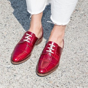 Burgundy Women's Oxfords Croc Lace up Flats Vintage Shoes
