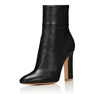 Black Shiny Vegan Boots Classic Chunky Heel Work Ankle Booties