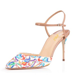 Women's  White Floral Printed Pointed Toe Stiletto Heels Sandals