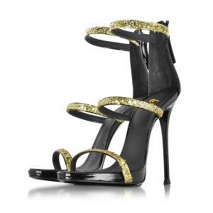 Gold Sparkly Heels Glitter Sandals Stiletto Heels Prom Shoes