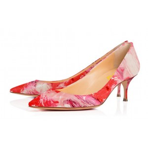 Red Kitten Heels Landscape Print Pointy Toe Pumps for Ladies