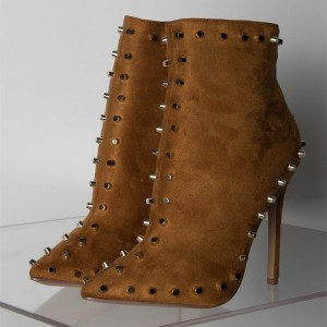 Camel Suede Studded Boots Stiletto Heel Ankle Booties