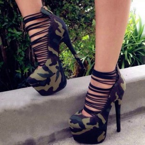 Camouflage Strappy Heels Platform High Heel Shoes by FSJ