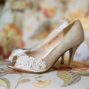 Women's Champagne Bridal Heels Peep Toe Lace Pumps for Wedding