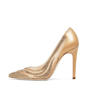 Gold Lace Bridal Heels Crystal Decorated Stilettos Wedding Shoes