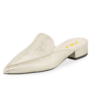 Champagne Pointy Toe Bock Heel Loafer Mules