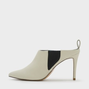 Champagne Pointy Toe Chelsea Style Stiletto Heel Mules