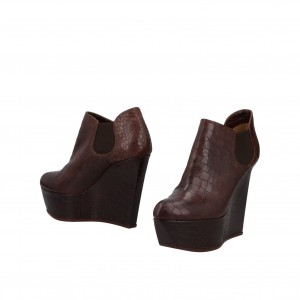 Chocolate Round Toe Wedge Booties Casual Platform Ankle Boots