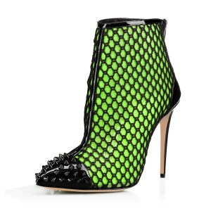 Green mesh Stiletto Boots Rivets Pointy Toe Summer Ankle Boots