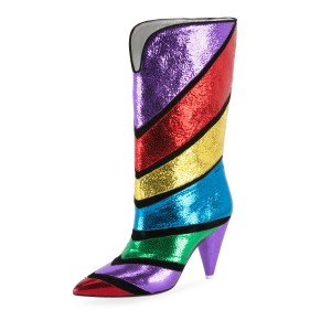 Colorful Pointy Toe Fashion Boots Cone Heel Mid Calf Boots