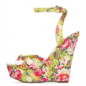Lime Satin Floral Heels Custom Made Wedge Sandals