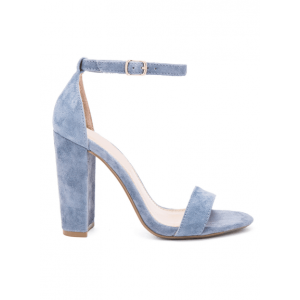 Custom Made Dusty Blue Suede Ankle Strap Sandals