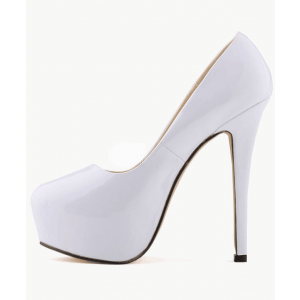Custom Made White Patent Leather Platform High Heel Pumps