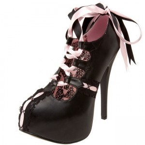 Custom Made Black and Pink Lace up Booties