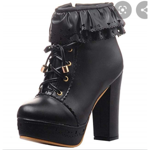 Custom Made Chunky Heel Lace up Platform Booties in Black