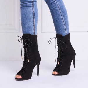 Custom Made Suede Peep Toe Lace up Ankle Booties in Black