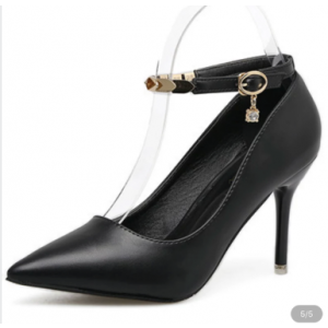 Custom Made Pointy Toe Ankle Strap Pumps in Black