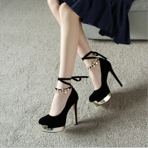 Custom Made Black Suede Embellished Ankle Wrapped Pumps