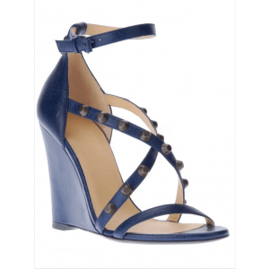 Custom Made Navy Studded Ankle Strap Wedge Sandals
