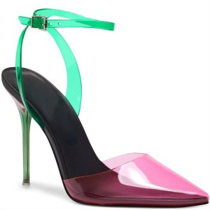 Custom Made Pink and Green PVC Ankle Strap Closed Toe Sandals