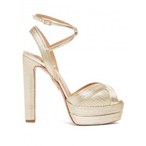 Custom Made Gold Cross over Strap Chunky Heels Platform Sandals