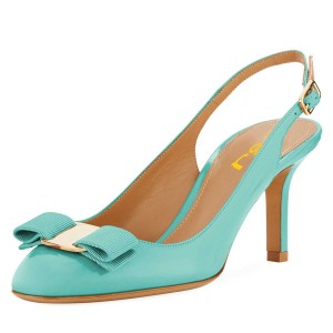 Cyan Patent Leather Bow Chunky Heel Slingback Pumps