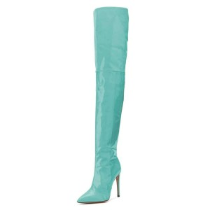 Cyan Patent Leather Thigh High Heel Boots