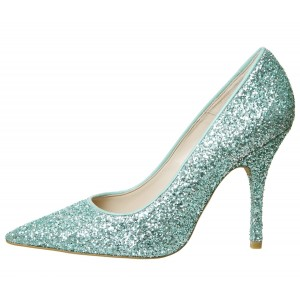 Cyan Sparkly Heels Glitter Pointy Toe Stiletto Heels Pumps