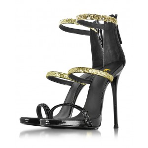 Women's Golden and Black Glitter Stiletto Heel Gladiator Sandals