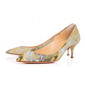 Yellow Dress Shoes Kitten Heels Floral Pointy Toe Pumps for Women