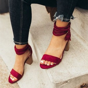 Dark Red Suede Tassel Strappy Block Heel Sandals