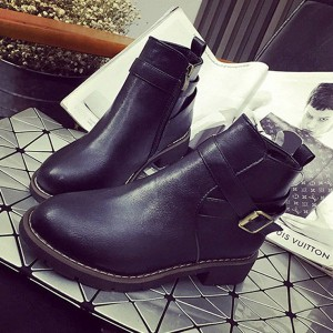 Black Vintage Boots Round Toe Wear-resistant Ankle Boots