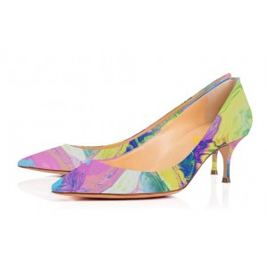 Abstract Art Kitten Heels Multi-color Pointy Toe Pumps by FSJ