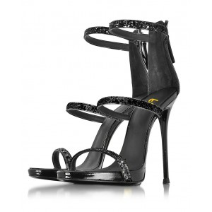 Women's Black Glitter Dress Shoes Stiletto Heels Ankle Strap Sandal for Cocktail Party