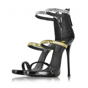 Tri Strap Colors Glitter Gladiator Heels  Stilettos Strappy Sandals