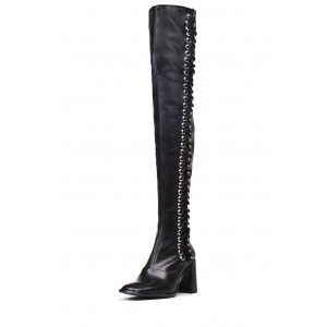 Black Lace Up Boots Slouch Chunky Heel Thigh High Boots