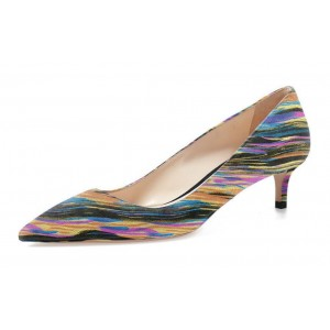 Multi-color Dress Shoes Kitten Heels Colorful Stripes Pointy Toe Pumps
