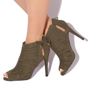 Fashion Brown Strappy Heels Lace Up Peep Toe Stiletto Suede Sandals