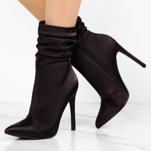 Fashion Brownish Black Stiletto Boots Satin Pointy Toe Ankle Boots