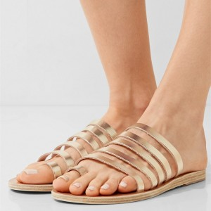 Fashion Gold Multi Straps Women's Slide Sandals