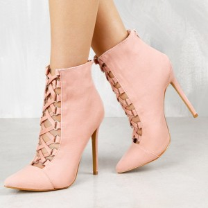 Fashion Pink Lace up Boots Pointy Toe Stiletto Heels Ankle Boots