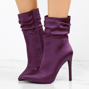 Fashion Purple Stiletto Boots Satin Pointy Toe Ankle Boots For Women