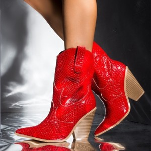 Red Snakeskin Slip on Boots Pointy Toe Chunky Heel Western Boots