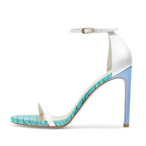 Cyan Floral Heels Open Toe Stiletto Heel White Ankle Strap Sandals