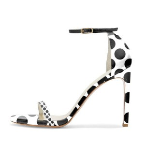 Black and White Stiletto Heels Polka Dots Cute Ankle Strap Sandals