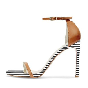 Tan Heels Open Toe Ankle Strap Stiletto Heel Sandals for Office Lady