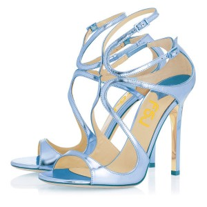 Women's Blue Strappy Stiletto Heels Dress Shoes Open Toe Ankle Strap Sandals For Prom