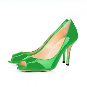 On Sale FSJ Lime Green Patent Leather  Peep Toe Heels Office Pumps
